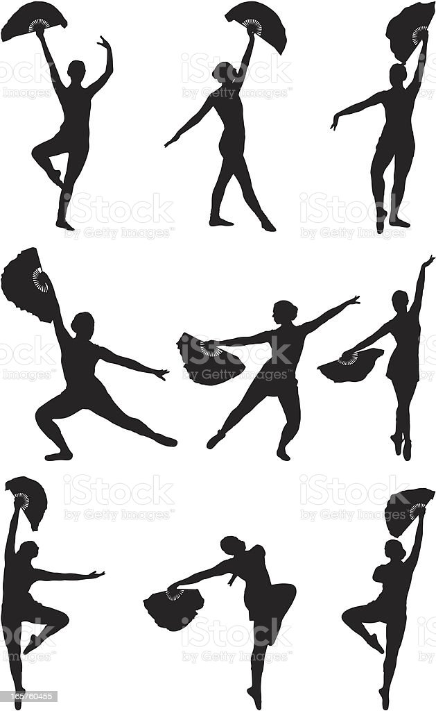 Ballerina Dance Routine With Fan Stock Illustration