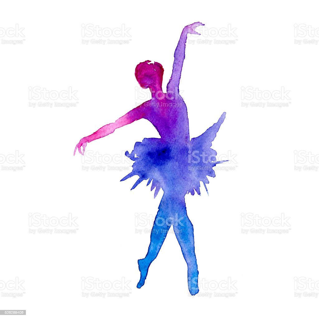 ballerina. dancer. isolated. color.watercolor vector art illustration