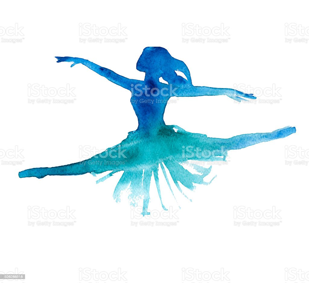 발레리 나. 댄서. 절연. 백색과. 워터컬러 벡터 아트 일러스트