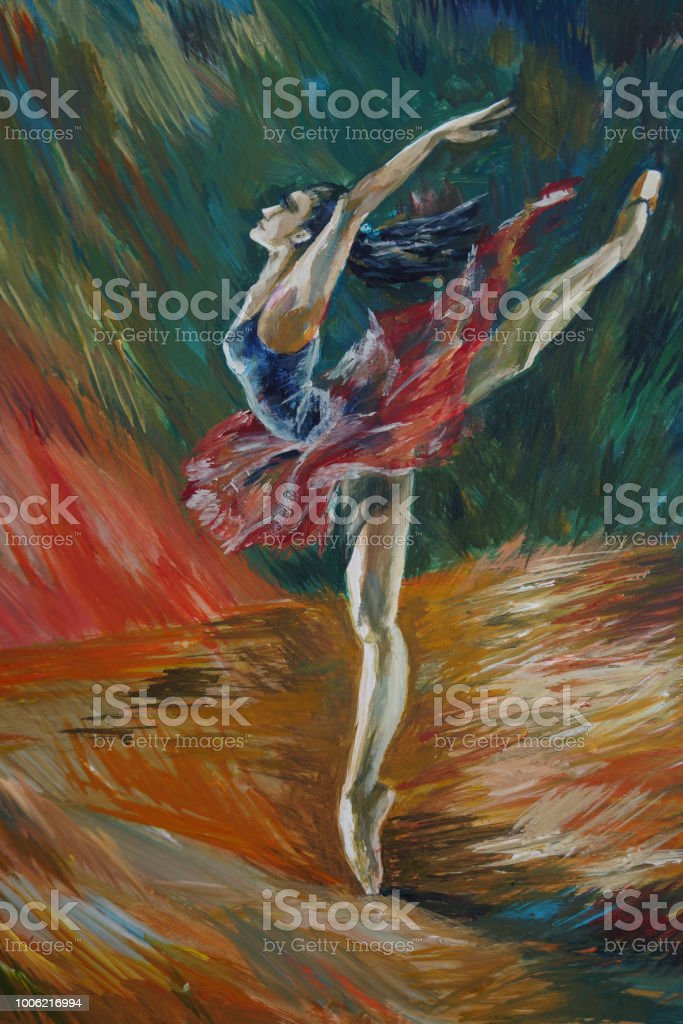 Ballerina Painting Acrylic and Full spectrum on Canvas and Cardboard artist creative painting background vector art illustration