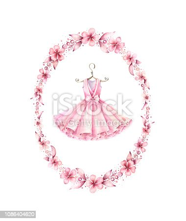 Ballet dress with floral wreath. Watercolor hand painted illustration isolated on white background.Ballet series.