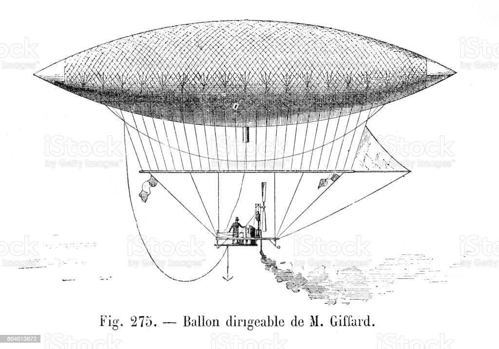 Balloon dirigible of Giffard engraving 1881 vector art illustration