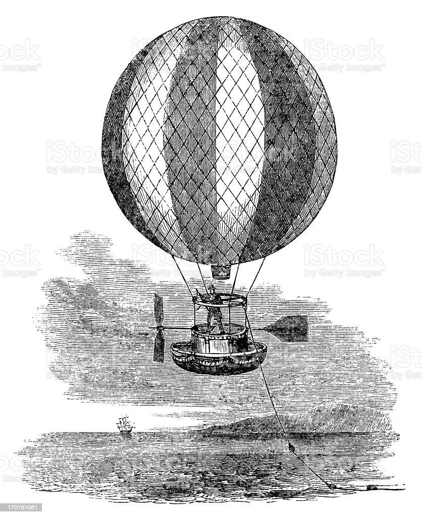 Balloon preparing to cross the Atlantic (1840 engraving) royalty-free stock vector art