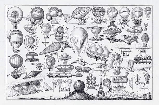 stockillustraties, clipart, cartoons en iconen met balloons, airships and flying machines engraving from 18th century france - uitvinding