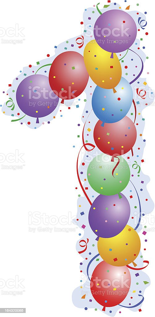 Balloons and confetti - Number one royalty-free stock vector art