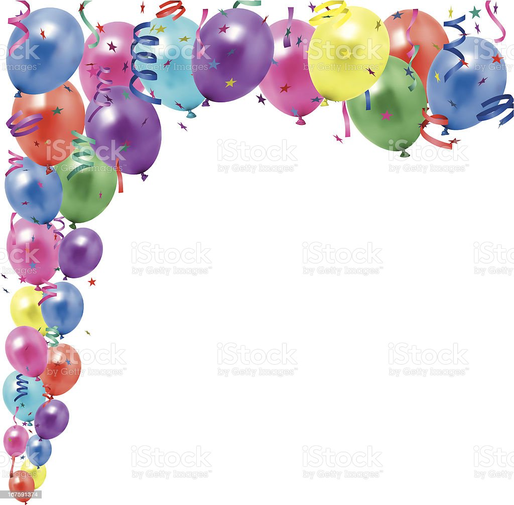 balloons and streamers stock vector art more images of backgrounds