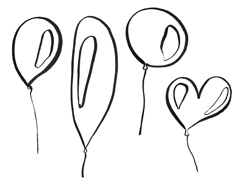 Balloons drawn with black curved lines