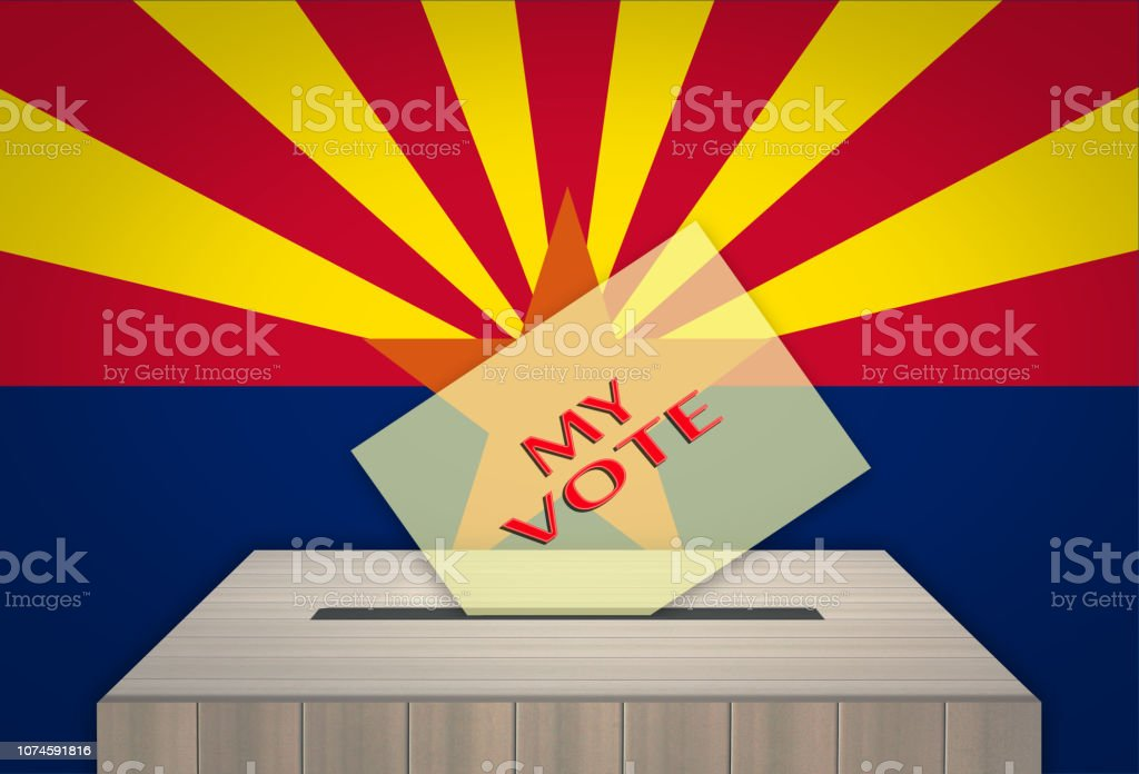 Ballot box with national flag on background- ARIZONA, USA vector art illustration