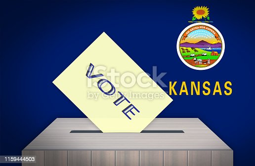 istock Ballot box with national flag on background- KANSAS, USA 1159444503