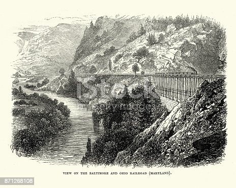 Vintage engraving of Baltimore and Ohio Railroad, Maryland, 19th Century