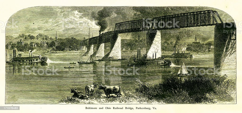 Baltimore and Ohio Railroad Bridge, USA, wood engraving (1872) royalty-free stock vector art