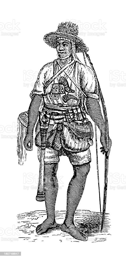 Bambara warrior, West Africa (antique wood engraving) royalty-free bambara warrior west africa stock vector art & more images of 19th century