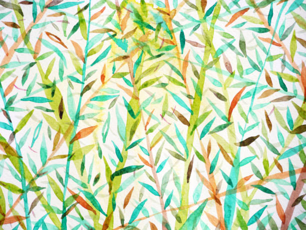 bamboo background watercolor painting japanese chinese drawing style vector art illustration