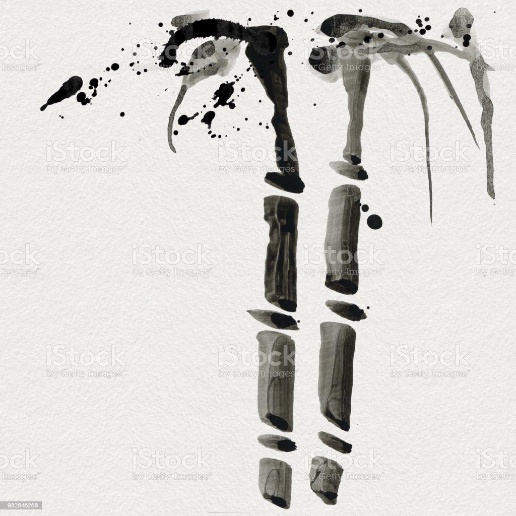 çin Stili Bambu Suluboya El Boyama çizim Stok Vektör Sanatı