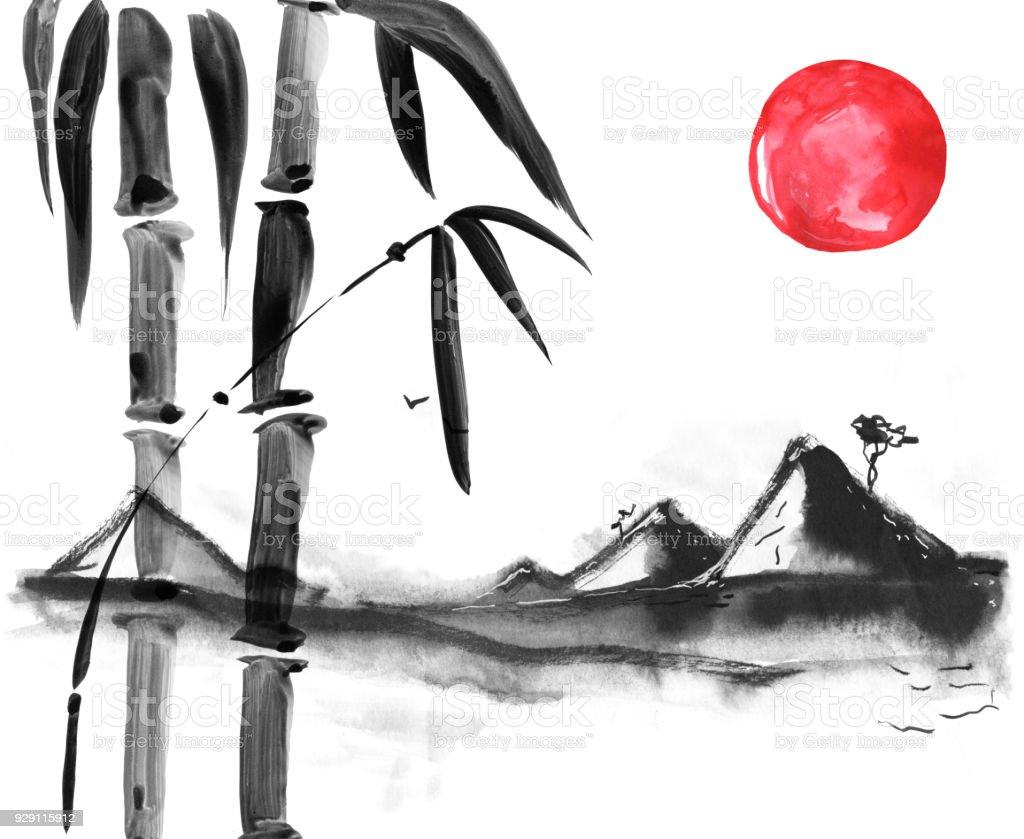 Bambu Japon Tarzı Suluboya El Boyama çizim Stok Vektör Sanatı Arka