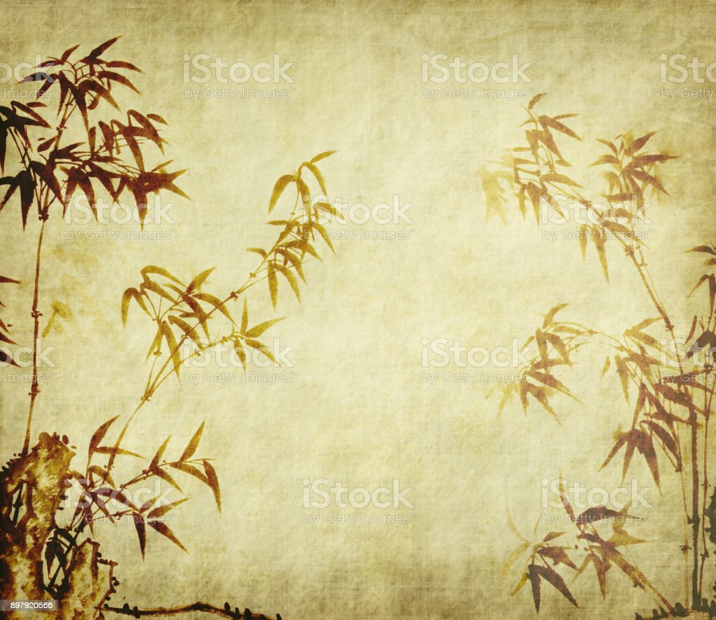 Bamboo ink painting vector art illustration