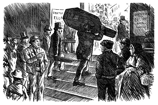 Band arriving at the concert Hall - Scanned 1881 Engraving