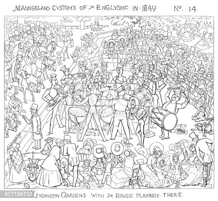 """Various classes of English society enjoying a band concert in Kensington Gardens, London. One of a series of comic cartoons of various aspects of English manners, society and customs from """"Manners and Customs of Ye Englyshe - Mr Pips hys Diary"""" drawn by Richard Doyle. Published by Bradbury & Evans, London, 1849."""