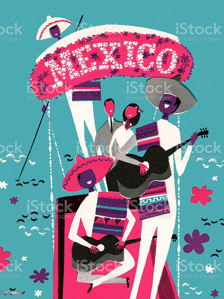 Band Playing Under Mexico Sign royalty-free band playing under mexico sign stock vector art & more images of adult