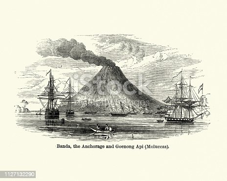 Vintage engraving of Banda Islands, Anchorage and Goenong Api (Moluccas), 19th Century. Indonesia