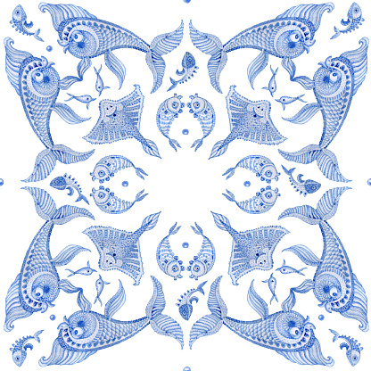 Bandana design blue nautical print on white background, scarf, kerchief ornament, tee shirt decoration. Watercolor painted Paisley pattern, ornate cute fishes, fantasy sea animals.