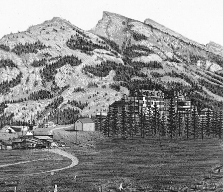 The town of Banff in the Canadian Rockies of Alberta, Canada. Vintage etching circa late 19th century. Alberta became a province in 1905, until then it was part of the Northwest Territories.