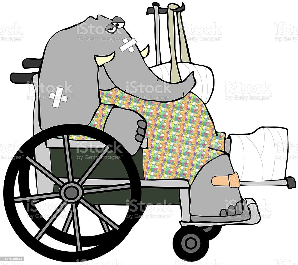 Banged Up Elephant royalty-free stock vector art
