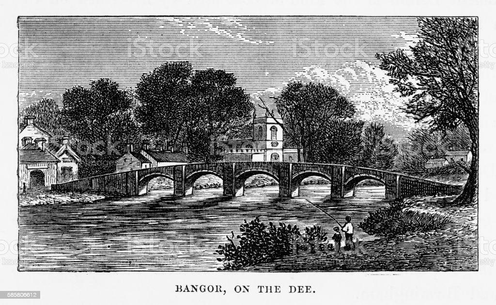 Bangor by the River Dee, Bangor, Wales Victorian Engraving, 1840 vector art illustration