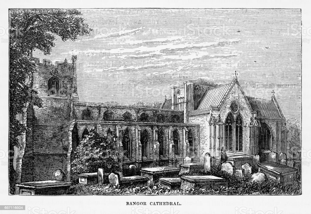 Bangor Cathedral in Bangor, Gwynedd, Wales Victorian Engraving, 1840 vector art illustration