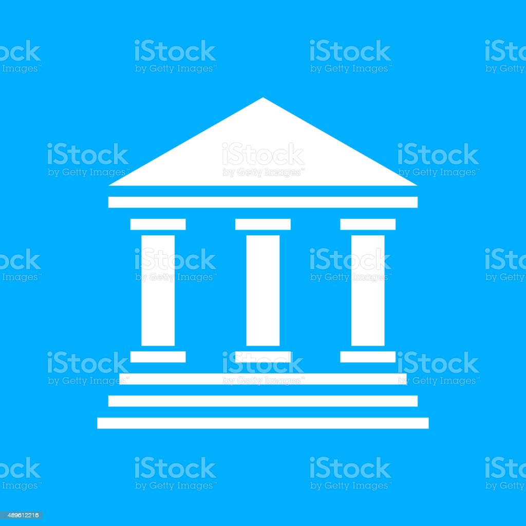 Bank icon on a blue background. - Smooth Series vector art illustration