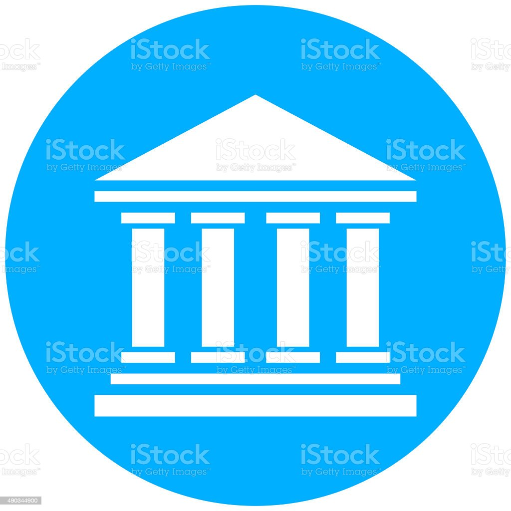 Bank icon on a round button. - RoundSeries vector art illustration