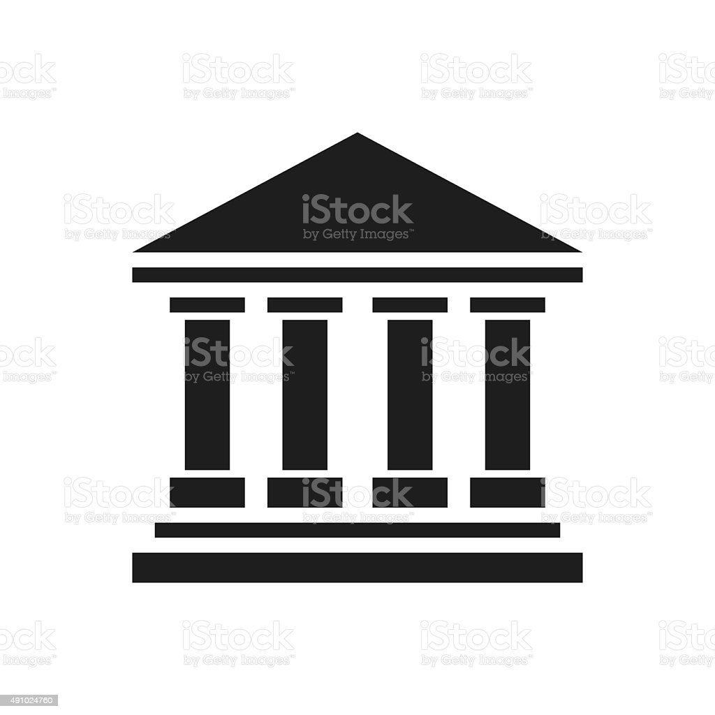Bank icon on a white background. - SingleSeries vector art illustration