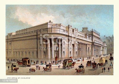 Vintage illustration Bank of England, Victorian London Landmarks, 19th Century.