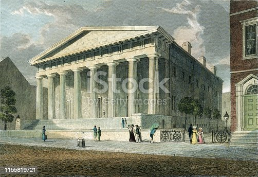 Vintage illustration features the Second Bank of the United States, located in Philadelphia, Pennsylvania, chartered in 1816.