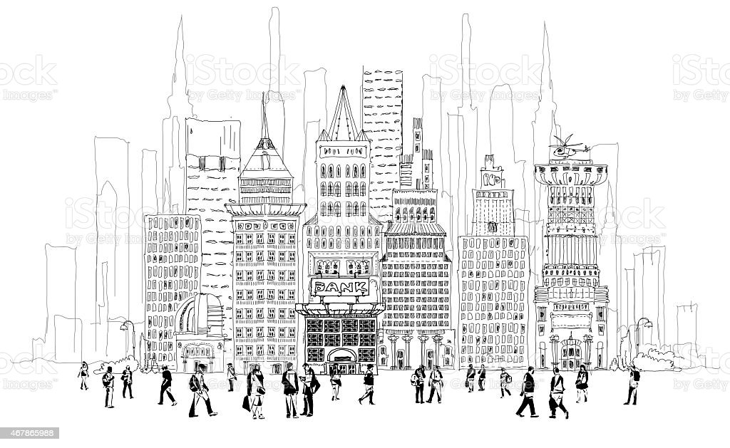 Bank street illustration with walking people, Sketch collection vector art illustration