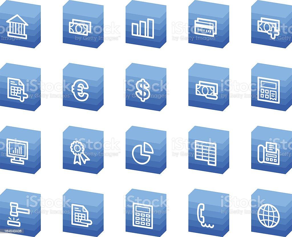 Banking web icons, blue box series royalty-free stock vector art