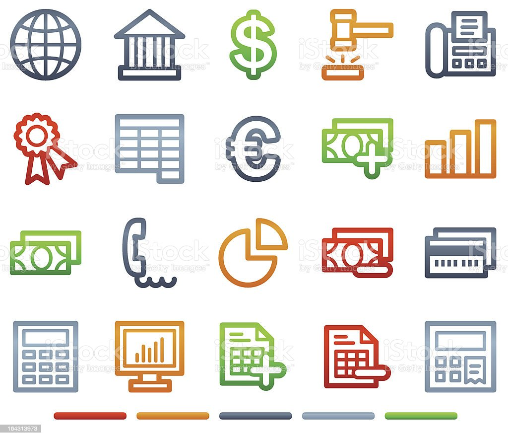 Banking web icons, colour symbols series royalty-free stock vector art