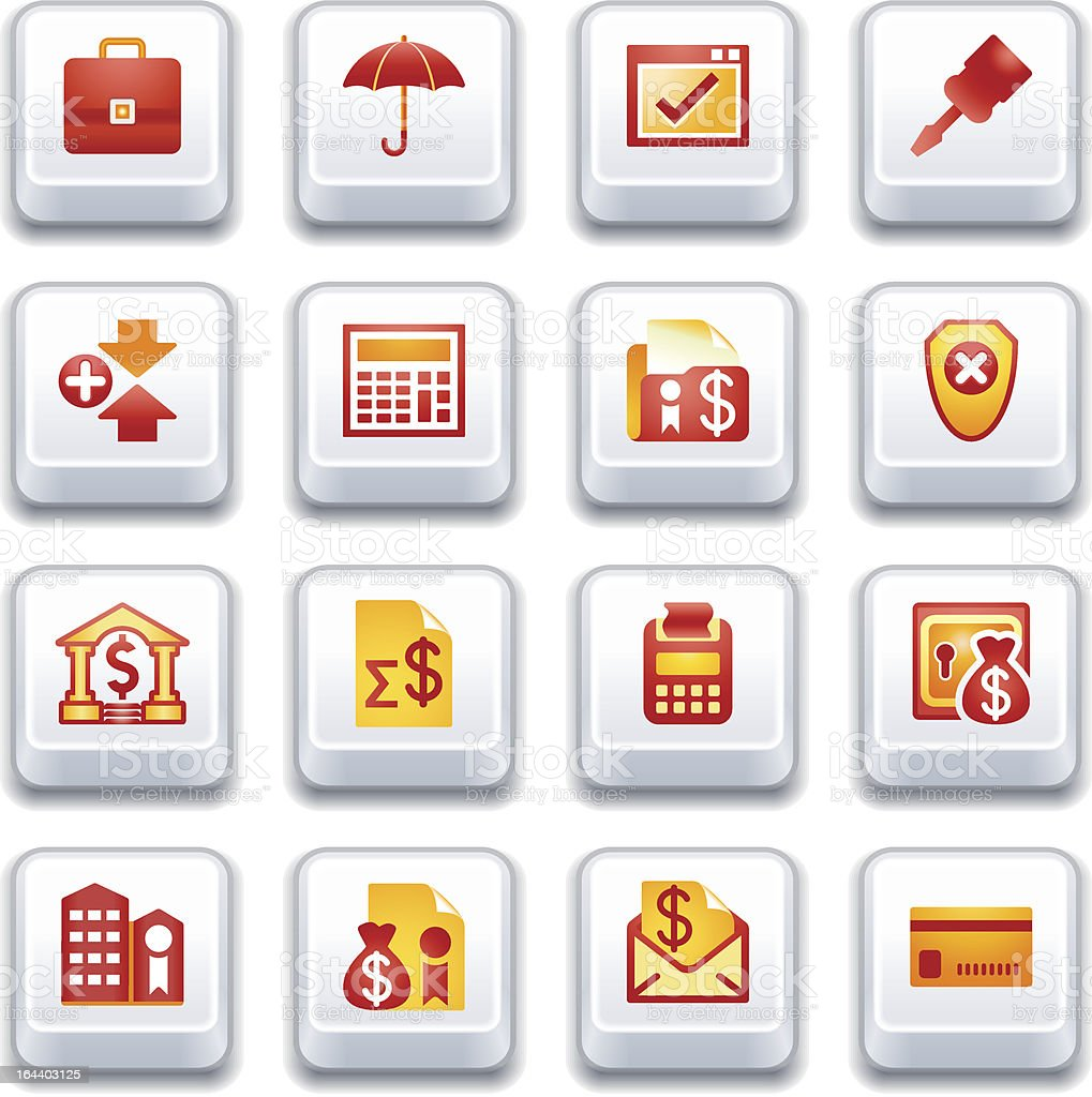 Banking web icons. Red and yellow series. royalty-free stock vector art