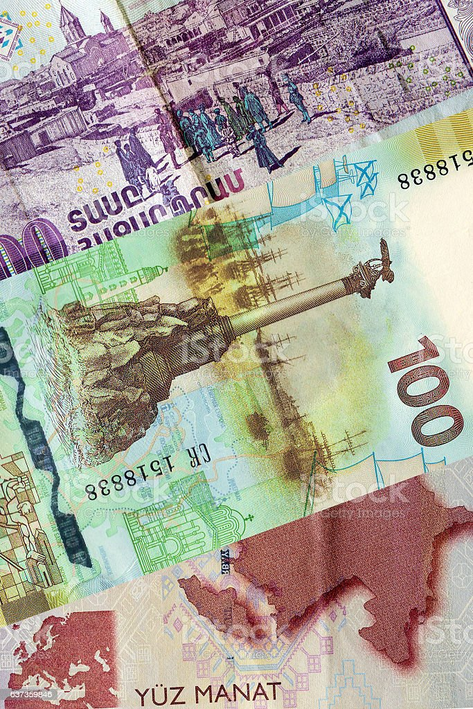 Banknotes of the Republic of Azerbaijan and Armenia vector art illustration