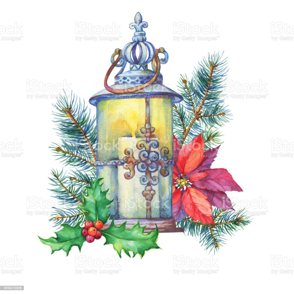 banner with a christmas tree holly poinsettia lantern christmas decoration greeting - Poinsettia Christmas Tree Decorations