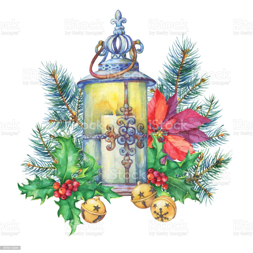 banner with a christmas tree holly poinsettia lantern christmas decoration greeting