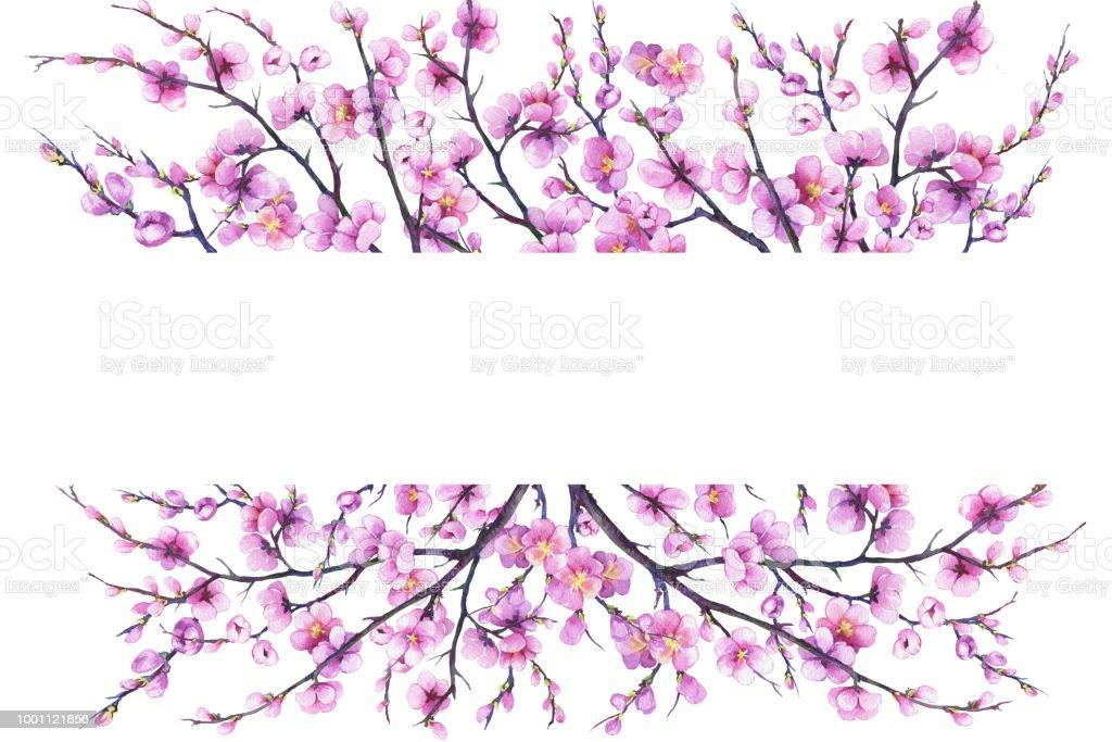 Ilustración de Banner Con Flores De Color Rosa Cereza Rama Flor De ...