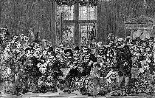 Banquet of the Amsterdam Civic Guard in Celebration of the Peace of Münster by Bartholomeus van der Helst (circa 17th century). Vintage etching circa 19th century.