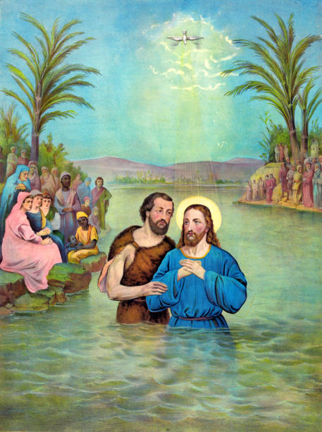 baptism of jesus christ - baptism stock illustrations, clip art, cartoons, & icons