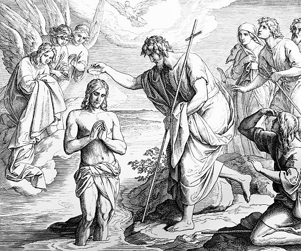 baptism of jesus - christening stock illustrations, clip art, cartoons, & icons