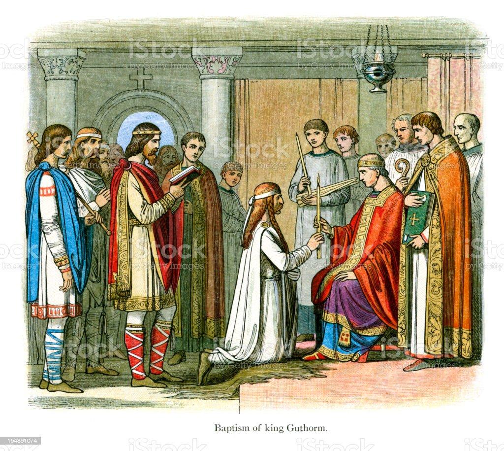 Baptism of King Guthrum vector art illustration