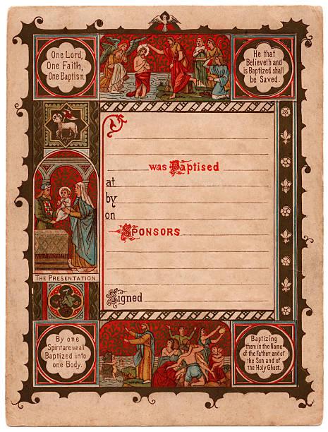 illustrations, cliparts, dessins animés et icônes de baptismal certificat - enluminure bordure