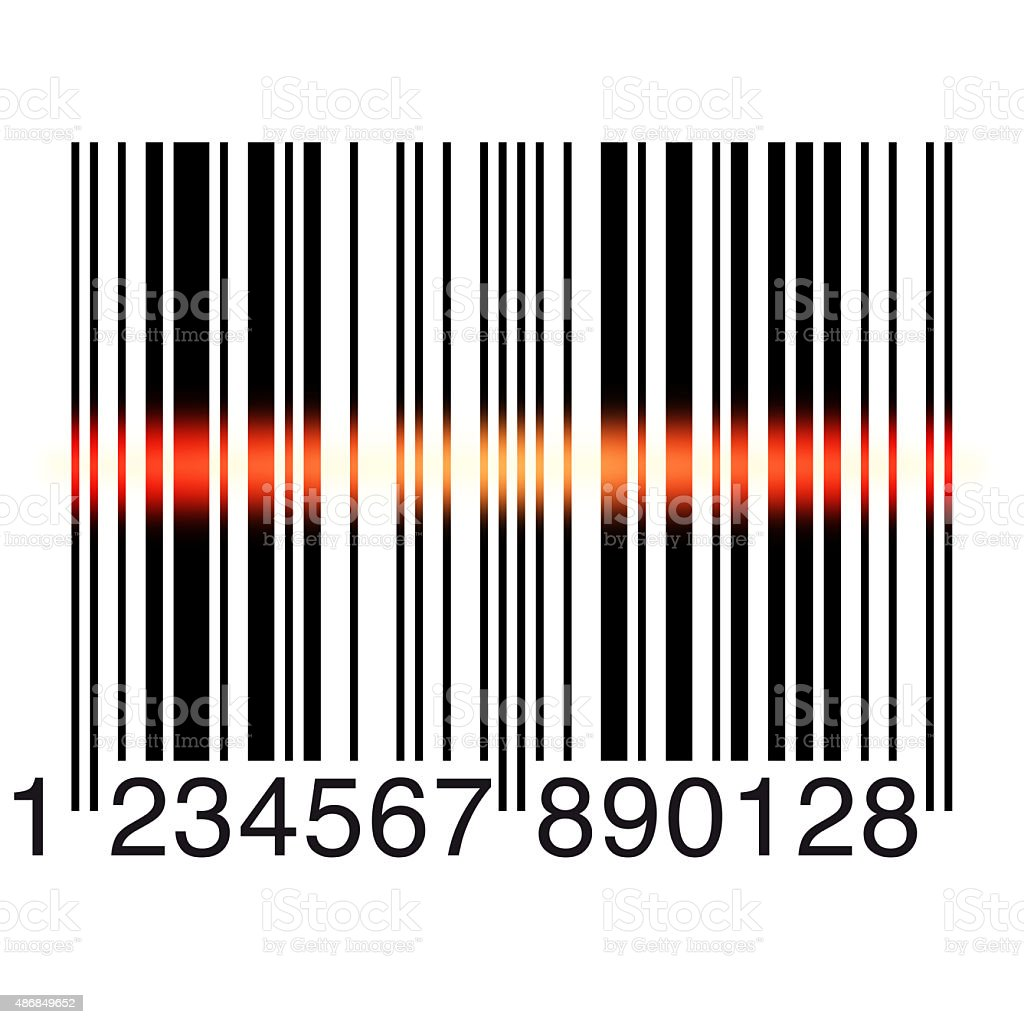 Bar code scanning on white vector art illustration