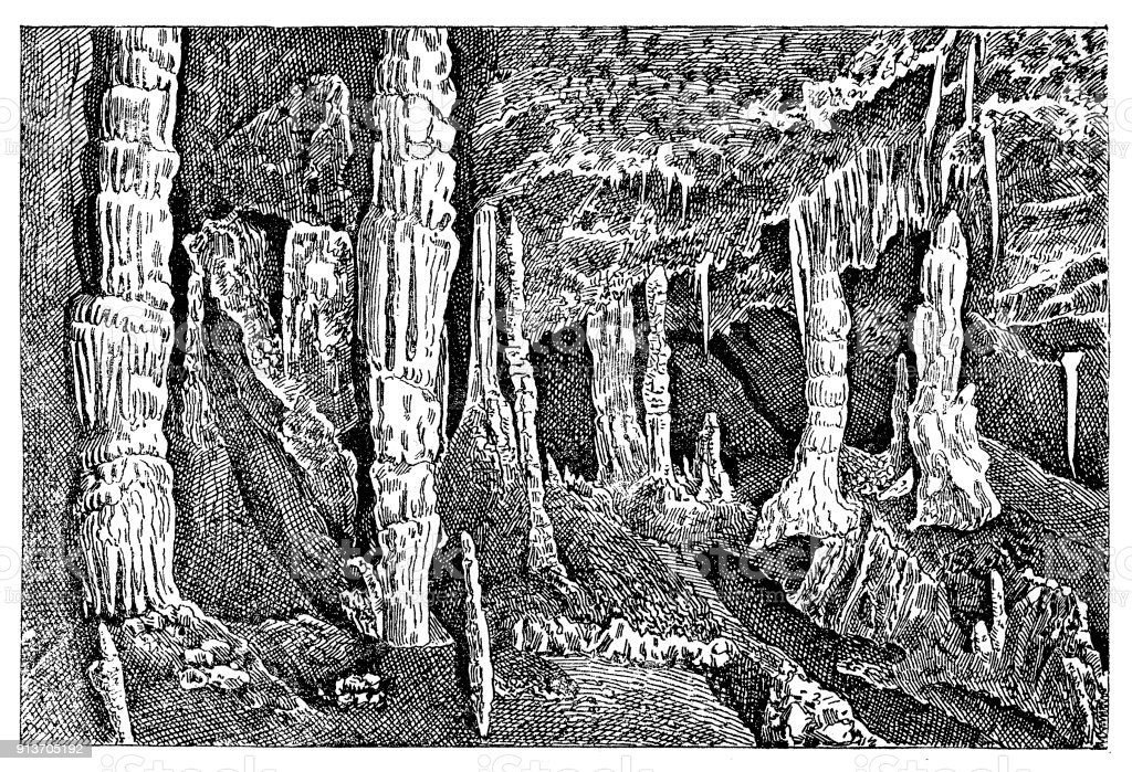 Baradle Cave in Aggtelek National Park in Hungury ,Solomon's Temple part vector art illustration