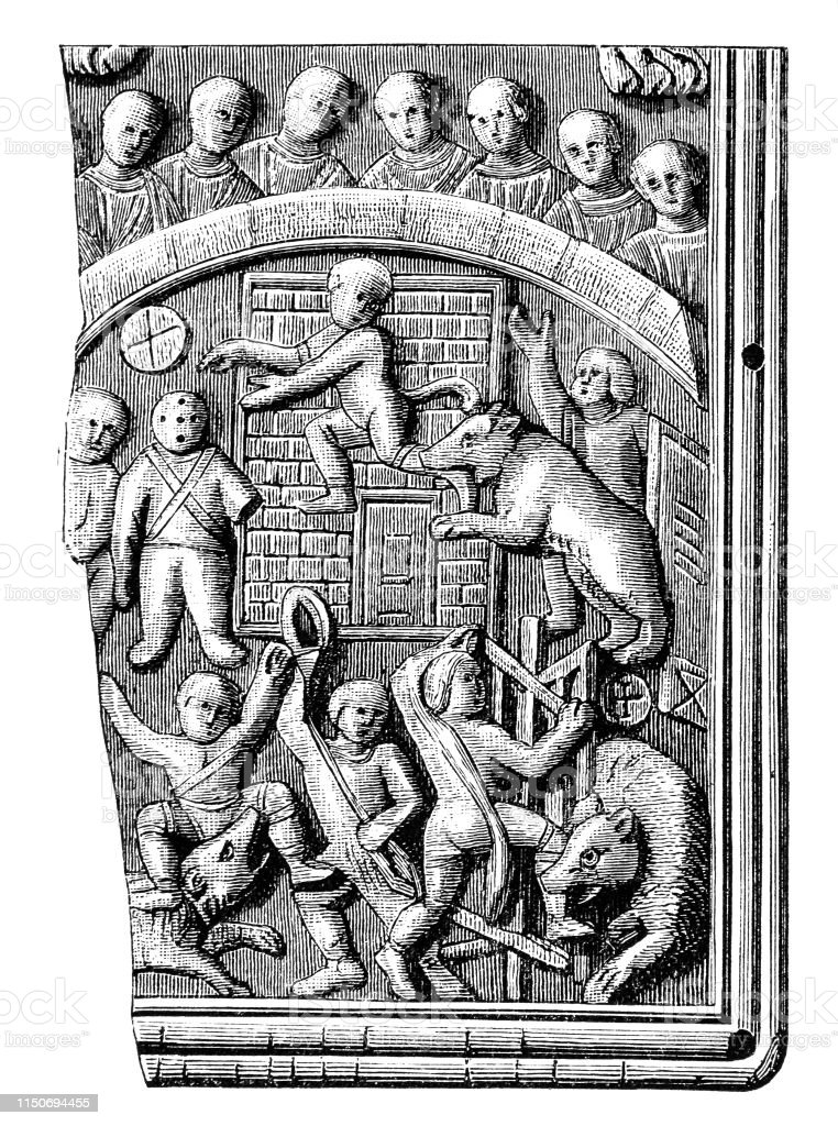 Illustration of a Barbarian prisoners are being torn by bears ,Circus...